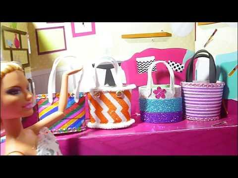 How to make purse for Barbie dolls. Miniature bag tutorial.