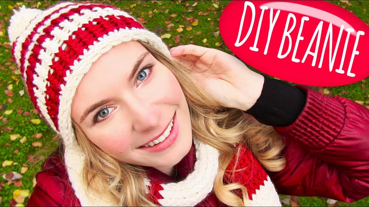 65899d919a5 Knit a Hat! DIY Beanie Hat with Pom Pom + DIY Knitting Loom! Easy ...