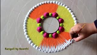 Very easy flower diwali rangoli design l Diwali rangoli designs with colours l दिवाली रंगोली डिजाइन