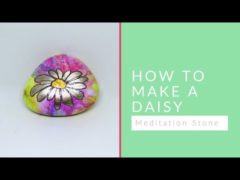 How to Make a Daisy Meditation Stone with a Painted Background