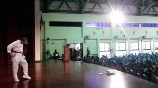 Rajini Chan performing Vanthenda Palkaren song for Tg Katong Girls Shool assembly.