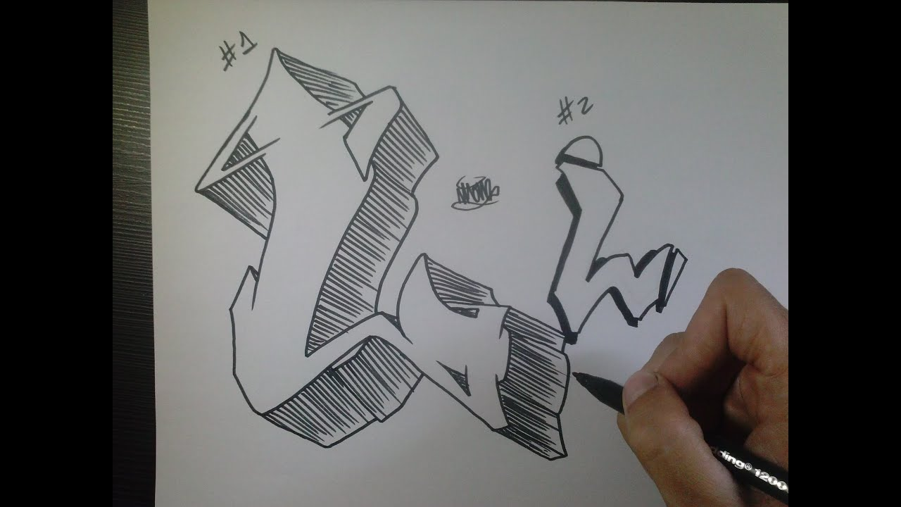 How To Draw Graffiti Letter L On Paper Youtube