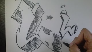 "How to draw Graffiti Letter ""L"" on paper"