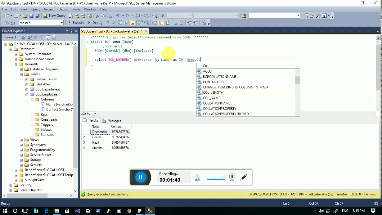Row number SQL | Row number function in SQL server
