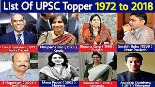 upsc topper list 1972 to 2018 - ias topper list 1972 to 2018