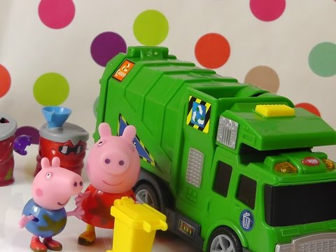 Peppa Pig meets garbage truck   toys for children
