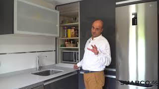 Gambar cover Cocina pequeña Antracita !! CON PERSIANA Y UNA ISLA MOVIBLE !! moderna sin tiradores y dekton