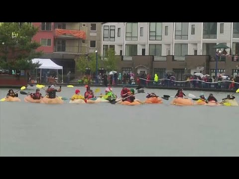 No Comment TV: US paddlers brave the rain for pumpkin paddle race