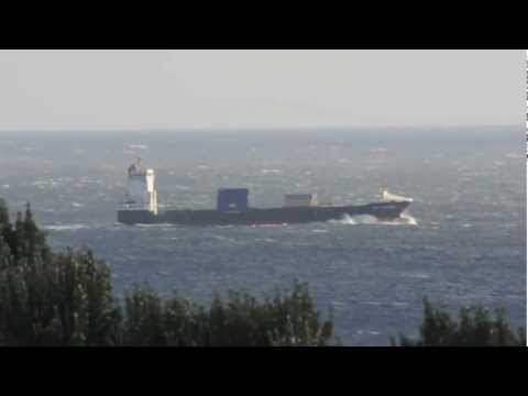 Containerships Vega Stockholm and BG Ireland passing Lizard Point, 4th March 2012