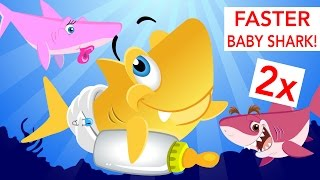 Faster and Faster! Baby Shark | Animal Songs | by Little Angel