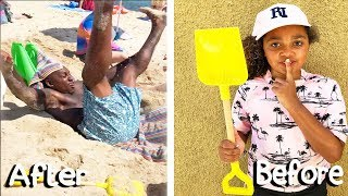 BEACH PRANK ON MY DAD!! *TIANA FUNNY PRANKS*
