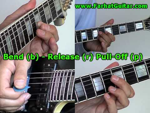 How to Read Guitar Tabs - Bend (b)- Release (r)-Pull Off (p) www.FarhatGuitar.com
