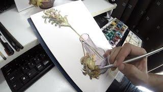 今日の水彩画 「枯れた花」 Watercolor of today Dead flowers