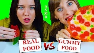 ASMR GUMMY FOOD VS REAL FOOD CHALLENGE EATING SOUNDS LILIBU