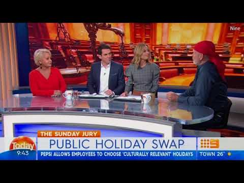 MacSween and Peter FitzSimons clash over public holiday swap debate... as she blasts him as a 'pig'