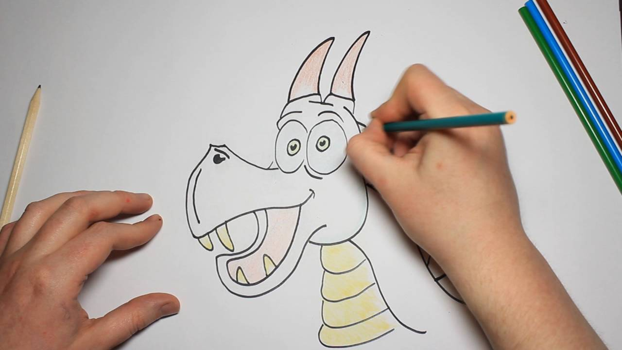 Kids How To Draw a Scary Fire Breathing Cartoon Dragon ...