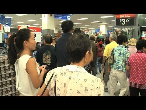 Crowds gather at Walmart during downtown Honolulu opening