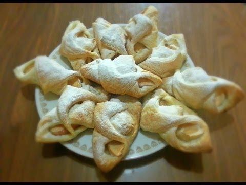 Аппетитные конвертики с яблоками из слоеного теста