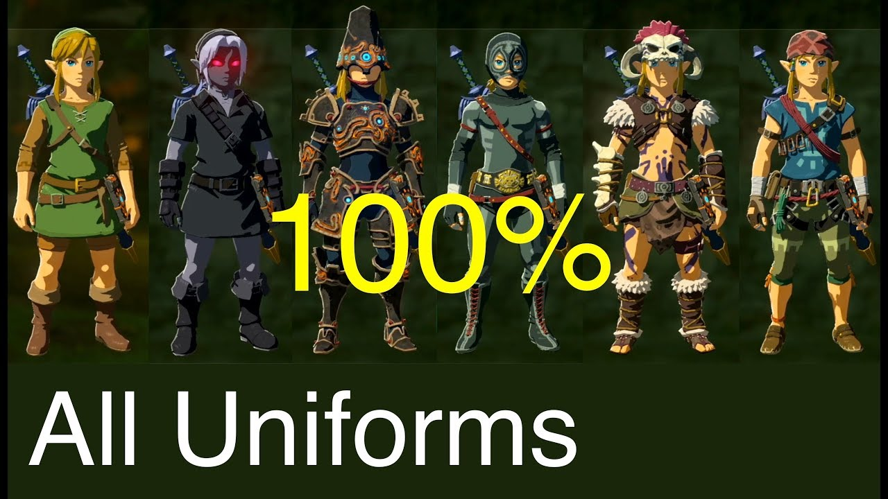 Zelda Breath Of The Wild All Costumes 100 And Upgraded