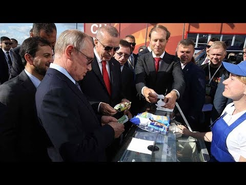 Putin And Erdogan Enjoy Ice Cream At MAKS 2019