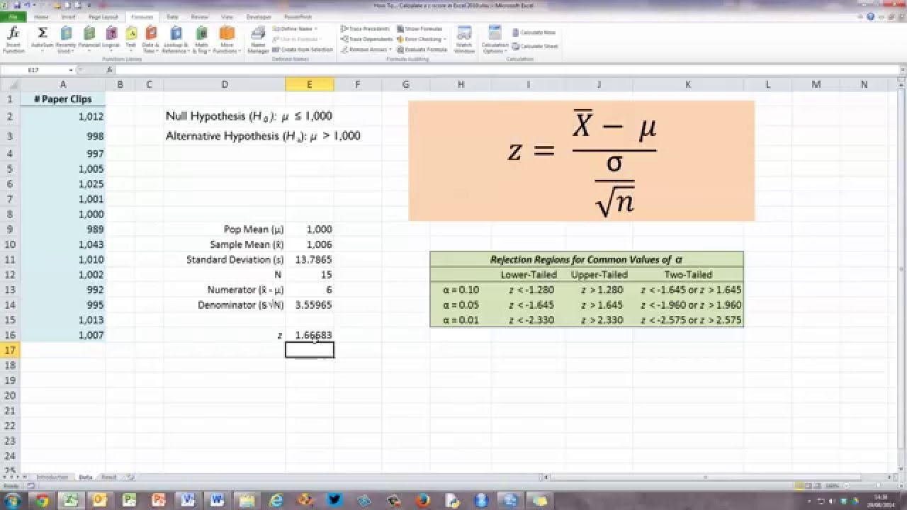How To Calculate A Zscore In Excel 2010