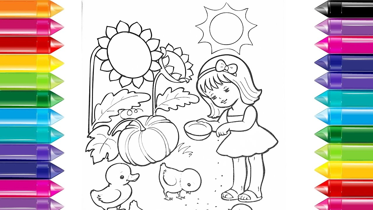Drawingcolor Draw Color Girl And Chickens Drawing To Kids Color Draw For Kids