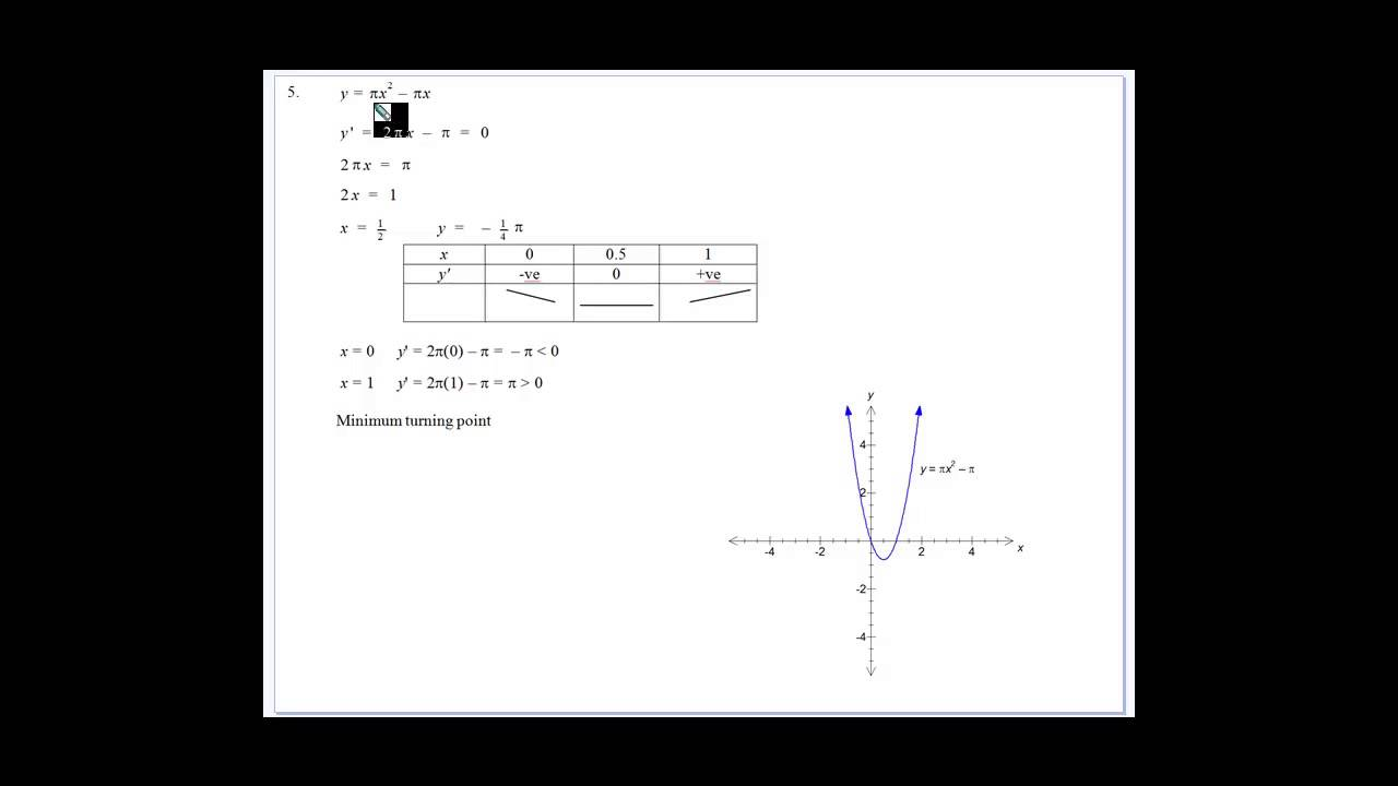 Geometrical Applications of Calculus Stationary Points 3 - YouTube