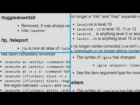 Even MORE Command Changes for Minecraft 1.13