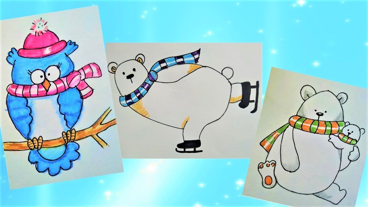 3 идеи простых зимних рисунков.