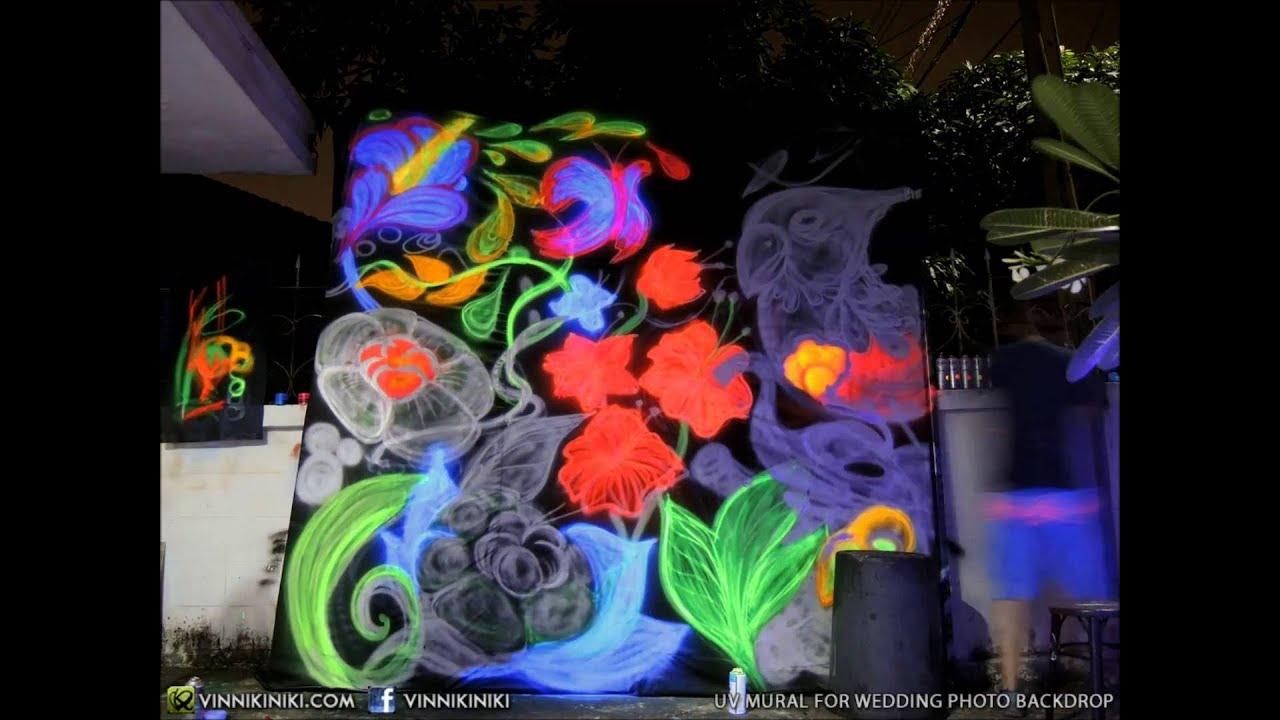 Black Light Graffiti Art Backdrop For Wedding Party