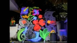 Glowing Neon UV Art Black Light Graffiti photo backdrop for wedding party