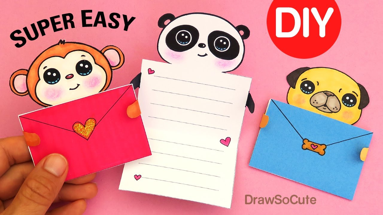 How To Make Easy Message Cards Cute Animals Youtube