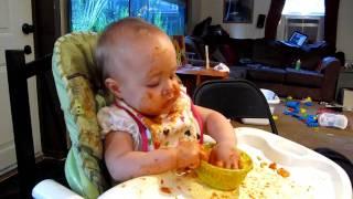 Sadie eating lasagna Thumbnail