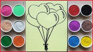 Đồ chơi trẻ em TÔ MÀU TRANH CÁT BONG BÓNG TRÁI TIM - Colored sand painting balloon toys (Chim Xinh)