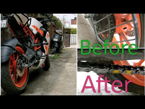 Chain Clean of ktm rc 200 | without Stand | bike washing and chain cleaning