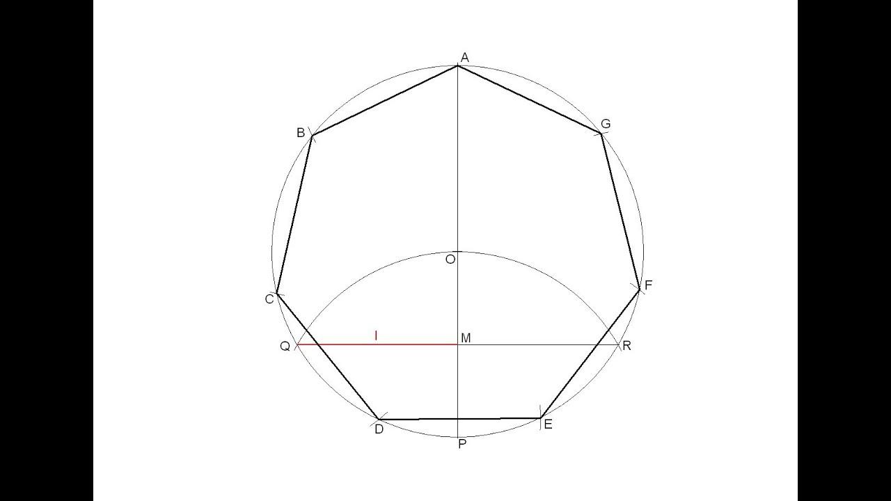 Heptágono regular inscrito en una circunferencia - YouTube