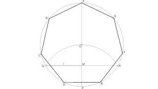 Heptágono regular inscrito en una circunferencia