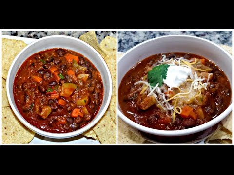 Vegetarian Chili | EASY VEGAN CHILI | Spicy Vegetable - Bean Chili Recipe | Full of FLAVOR