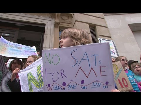 School children and parents on strike over education policy in England