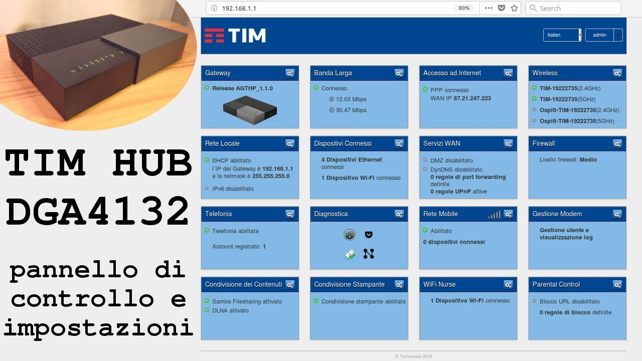 Tim Hub Dga4132 Pannello Di Controllo E Impostazioni