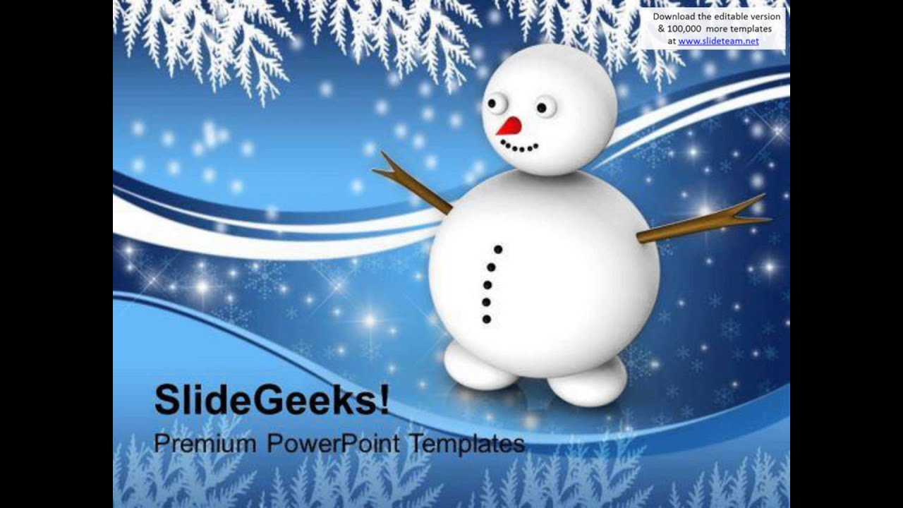 Snowman With Winter Scene Events Powerpoint Templates Ppt