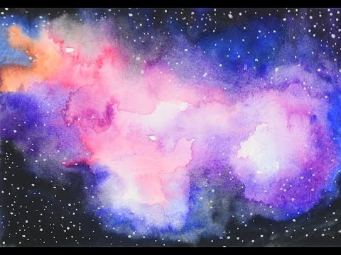 watercolor galaxy speed drawing youtube