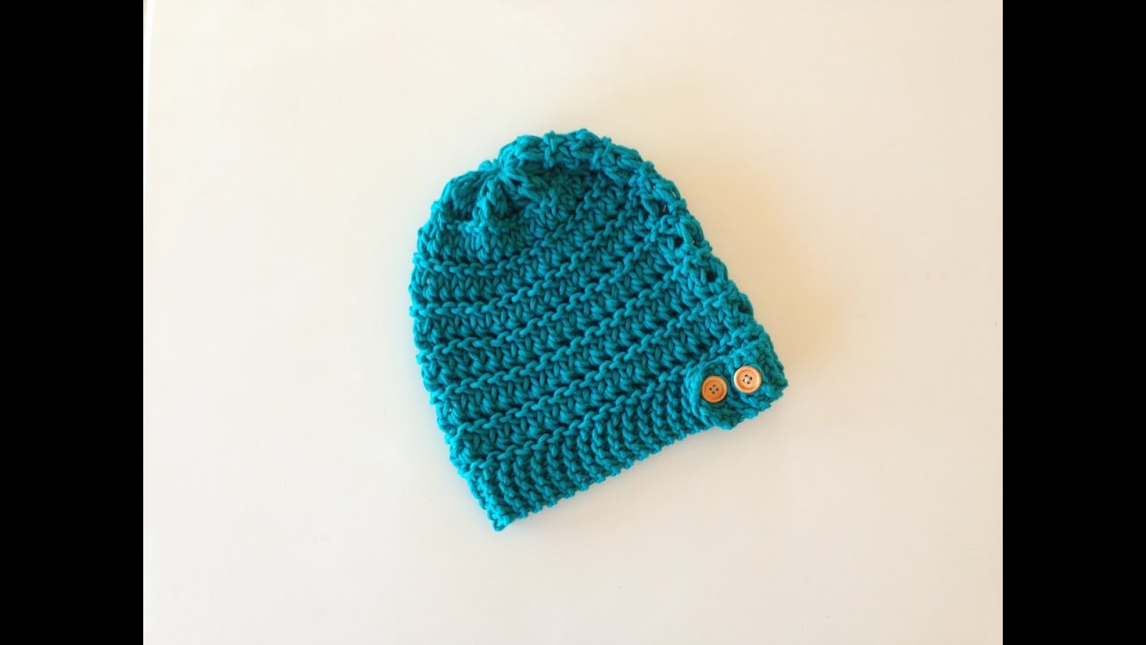 d69dd390716 How to Loom Knit a Lace Slouchy Beanie Hat with a Button Band (DIY Tutorial)