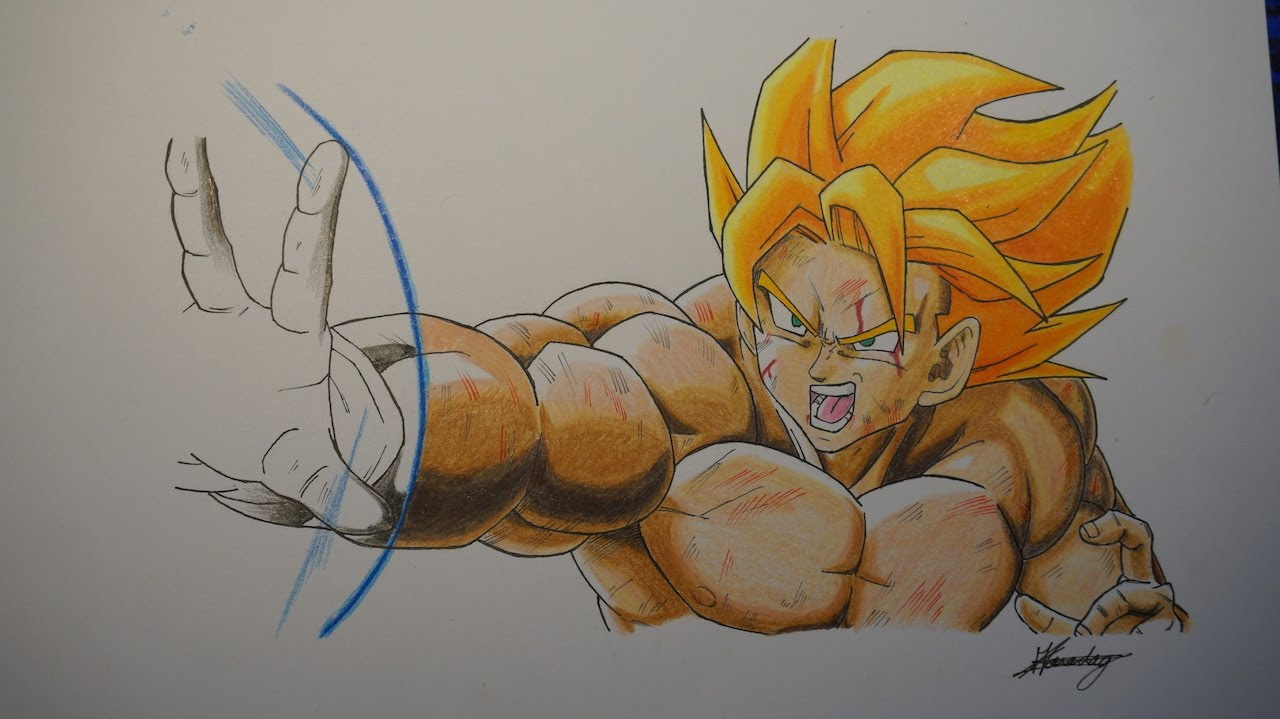 Dessin de goku super sayen drawing goku ssj1 youtube - Dessin dragon couleur ...
