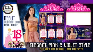 pink violet invitation card for debut 18th birthday cinelarawan production