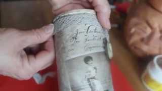 """Винтажная ваза из банки для чипсов (декупаж, состаривание, эффект """"сухой кисти"""" и др. техники)."""