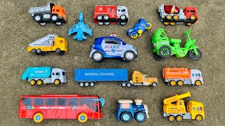 Hiding the toy vehicles in the bushes of the village house | Fire Truck, Police Car, Garbage truck
