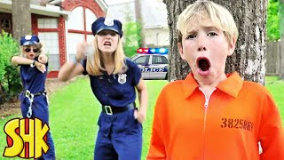 Prison Escape Backyard Breakout Challenge! SuperHeroKids Funny Family Videos Compilation