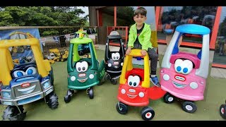 Kids Ride on Lots of Cozy Coupe Cabs Fun Toys at the Playground