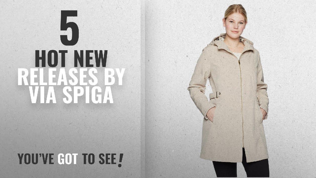 6ed4079c18f Hot New Via Spiga Women Clothing  2018   Via Spiga Women s Plus Size Zip  Front Hooded Walker Coat